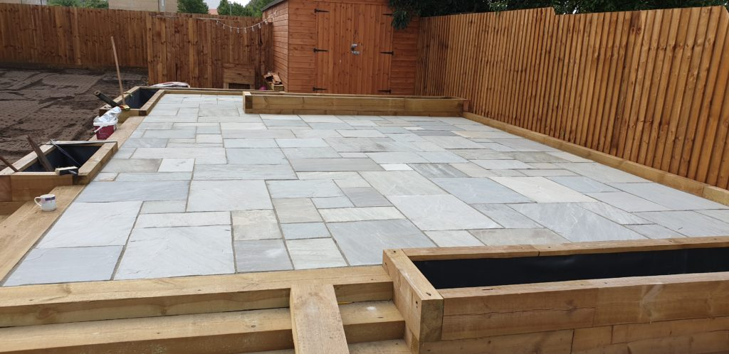 Indian SandStone Patio and Turf in Fordham Cambridgeshire